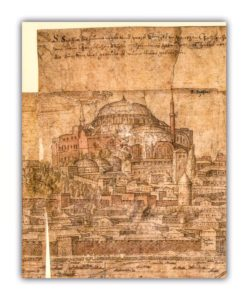 A view of HagiaSophia from Melchior Lorich's drawing in 1559.. you can see wooden minaret which had been erected by Mehmed II in this photo