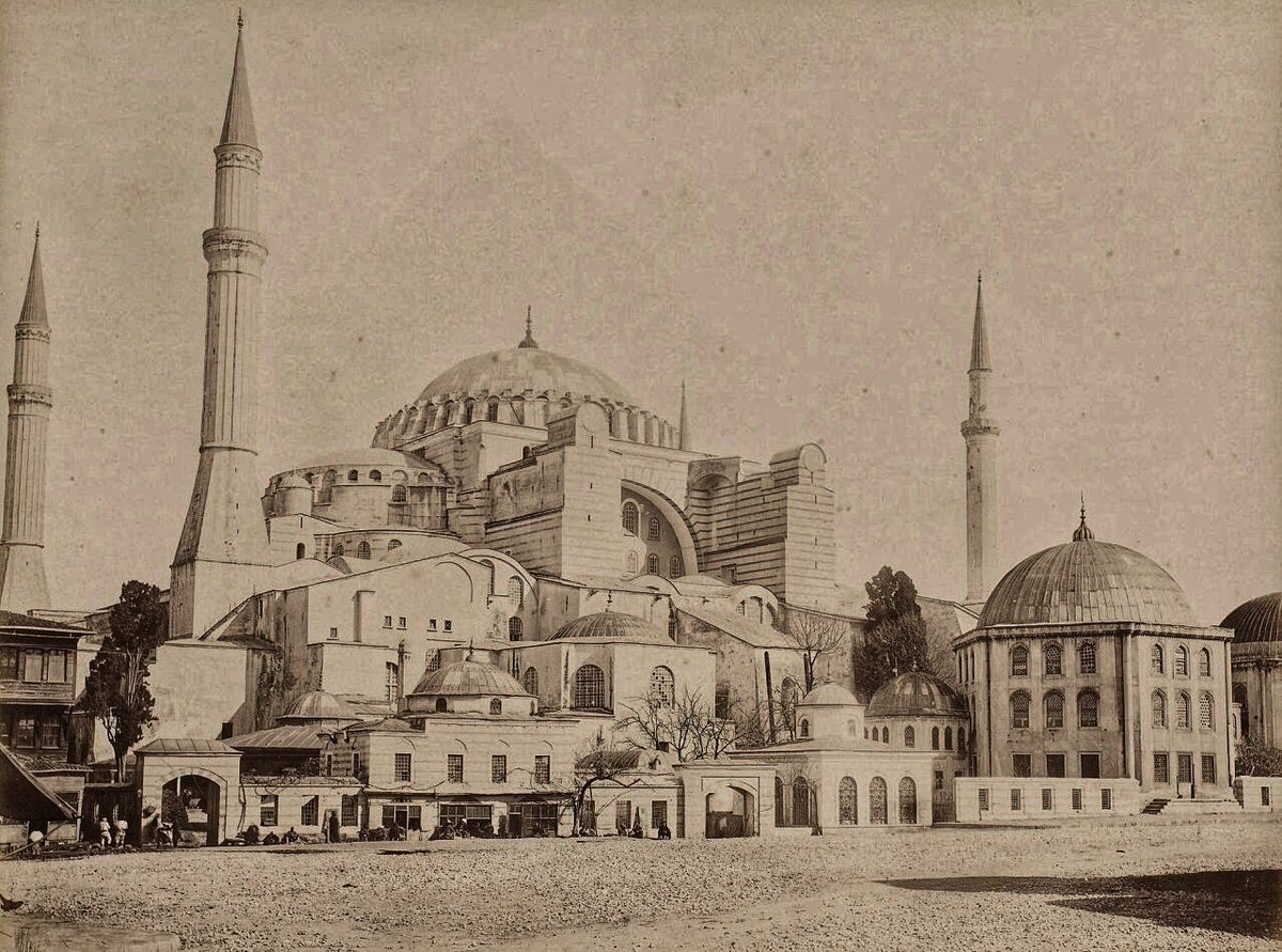 Hagia Sophia and Sıbyan Mekteb which was used as a 'kahvehane' in 1870.. Today, this building is a conferance hall of Hagia Sophia, Sebah Joaillier..