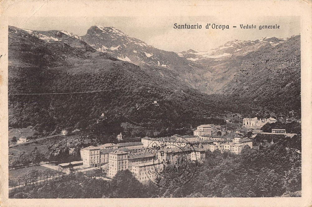 Sanctuary of Oropa vintage postcard. Bi