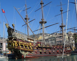 Pirate ship at Cenova port Italy