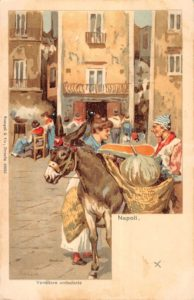 Naples Italy Market Scene Donkey Merchant Antique