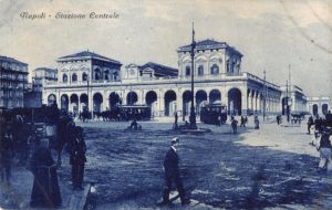 Napoli train station antique postcard