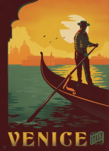Venice vintage Italian poster