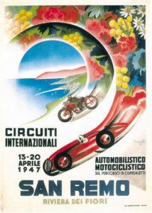 Circuiti internazionali automobilistico maotociclistico san remo 1947 san remo riviera dei dei fiori vintage poster