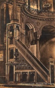 When Hagia Sophia was mosque at the end of the 19th century and its minbar with Islamic flags