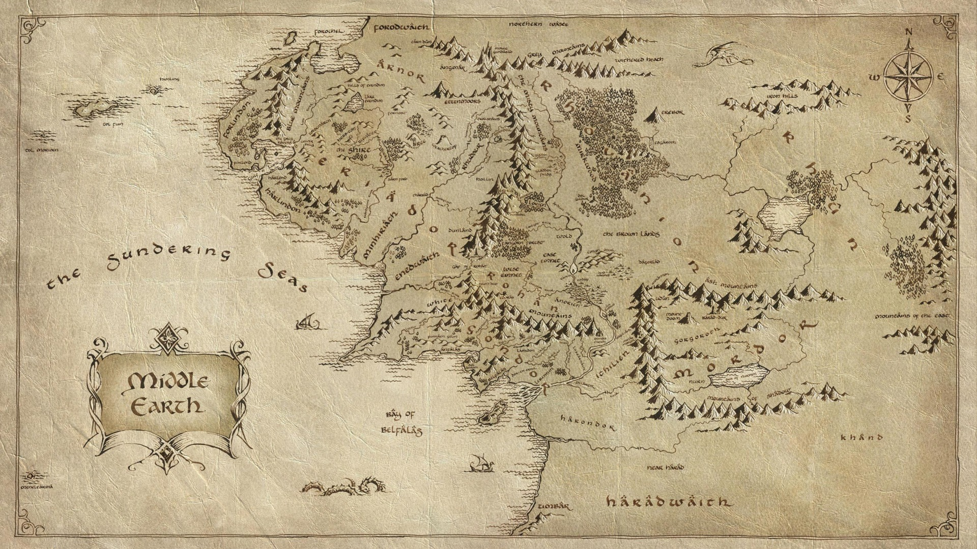 Middle Earth map, Tolkien