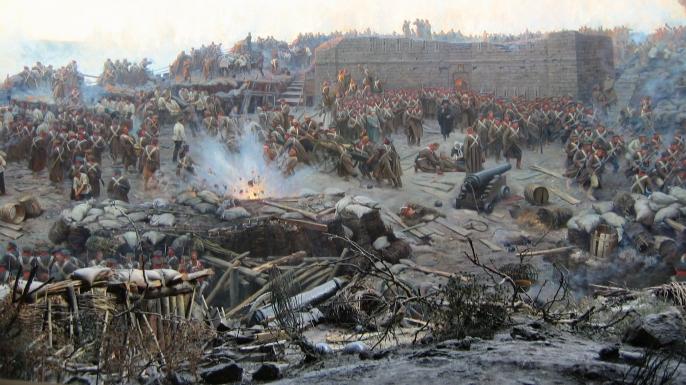 Painting of the Siege of Sevastopol.