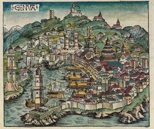 Genoa map, Nuremberg chronicles f 58v 1