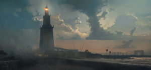 An artist's impression of the Lighthouse of Alexandria, one of the Seven Wonders of the Ancient World. (From the computer game Assassin's Creed Origins)
