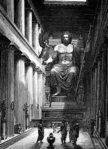 The Statue of Zeus was built by the sculptor Phidias around 435BC