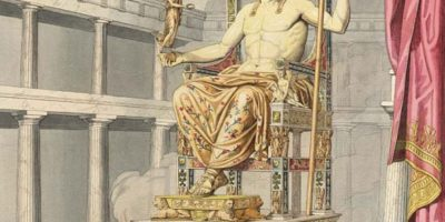 An 19th century CE illustration of what the 5th century BCE statue of Zeus at Olympia, one of the Seven Wonders of the World, may have looked like
