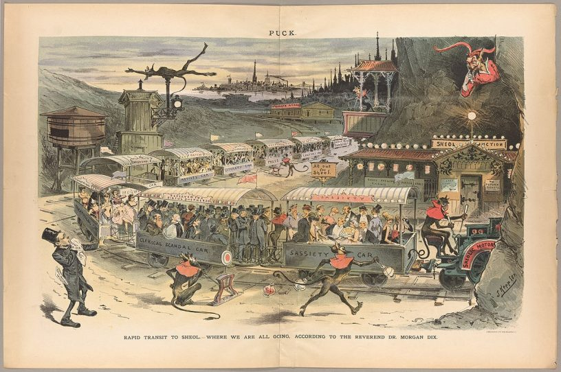 A satirical map of the road to Hell from Puck Magazine in 1888.