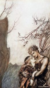 Brünnhilde throws herself into Siegfried's arms.