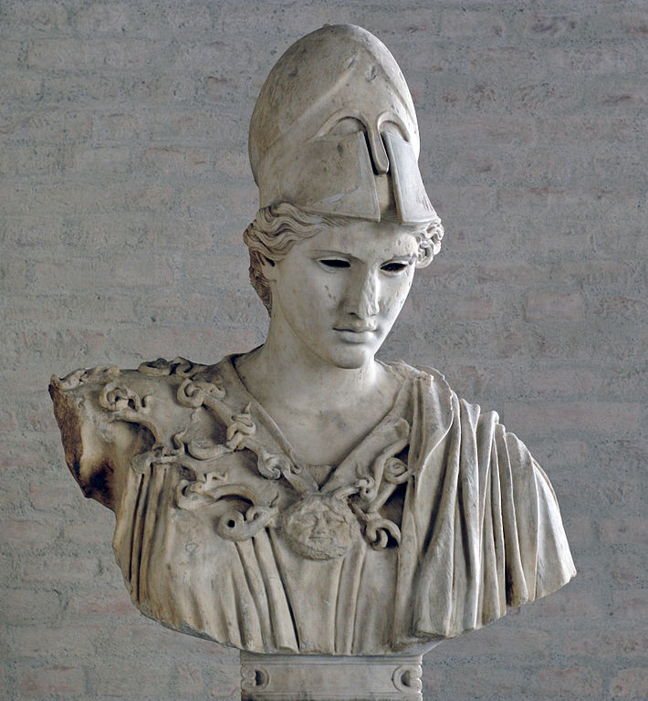 "Bust of Athena, type of the ""Velletri Pallas"" (inlaid eyes are lost). Copy of the 2nd century CE after a votive statue of Kresilas in Athens (ca. 430–420 BC)"