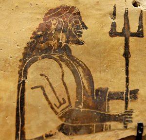 Poseidon holding a trident. Corinthian plaque, 550–525 BC. From Penteskouphia