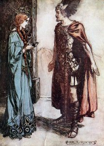 Siegfried hands the drinking-horn back to Gutrune, and gazes at her with sudden passion