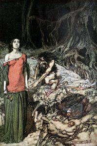 Alberich woos Grimhilde, mother of Hagen. The wooing of Grimhilde, the mother of Hagen