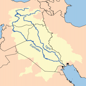 Map showing the Tigris–Euphrates river system, which surrounds Mesopotamia