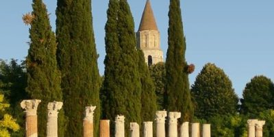 Ancient Roman columns in Aquileia, Italy