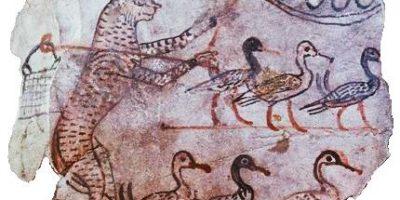 Anthropomorphic cat guarding geese, Egypt, ca. 1120 BCE