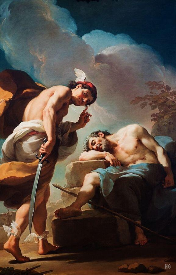 Mercury about to behead Argus. 1770-75. Ubaldo Gandolfi. Italian. 1728-1781 Greek Mythology. Mytography